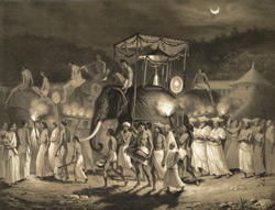 Fête de la lune à Ceylan, Mai 1841. [Procession with elephants.]